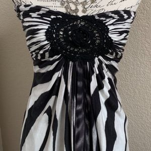Sky Zebra Crochet Tube Top M